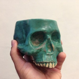 Ceramic Skull Mug Rusty Green