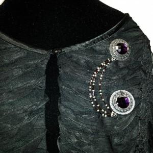 Purple Rhinestone and Beads Sweater Pin