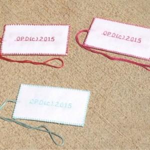 "2"" x 3 3/4"" (10) Handmade. Fabric. Personalized Tags. Wedding. Birthday. Bridal Shower. Baby Shower. Gift Bag Tags. Favor Tags. DMC Floss."