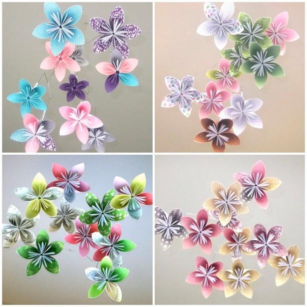 Custom origami flower baby mobile aftcra custom mobile flower mobile paper flower mobile paper flower decor crib mobile mightylinksfo