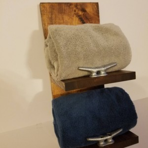Rustic Nautical Towel Rack, Two Shelf, Bathroom Decor