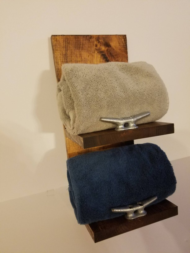 Rustic Nautical Towel Rack Two Shelf Bathroom Decor Aftcra