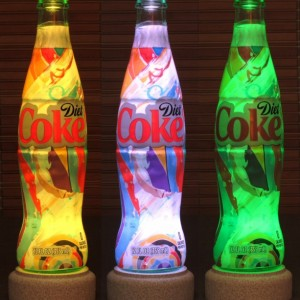 Coke Coca Cola Soda 12 oz RGB LED Remote Control Color Changing Bottle Lamp Bar Light Accent lamp Glass Diet Coke