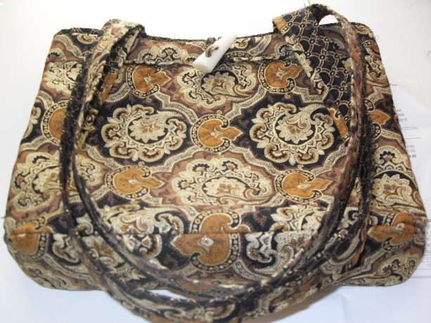 Quilted Purse with pockets and two straps shimmering black, gold, brown