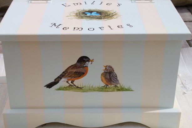 Bird nest baby keepsake chest - personalized memory box baby gift