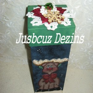 Christmas Wine Box, Reindeer Wine Box, Stash Box, painted Reindeer