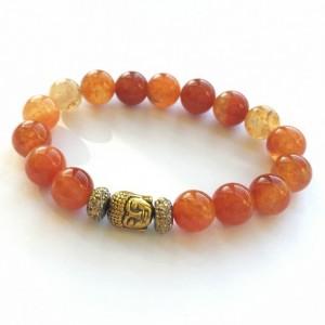 Fire Agate & Buddha Bracelet