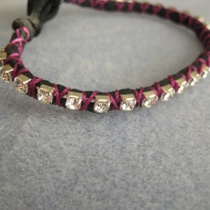 Poor girl's tennis bracelet. Suede and rhinestones cup chain Button closure
