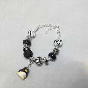 Black and White European Charm Penguin Bracelet
