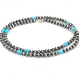 Faux Acrylic Navajo Pearls and Turquoise Colored Magnesite Necklace 42""