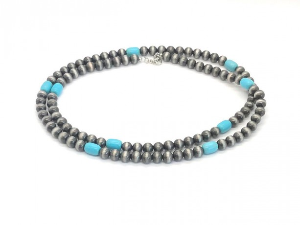 """Faux Acrylic Navajo Pearls and Turquoise Colored Magnesite Necklace 42"""""""