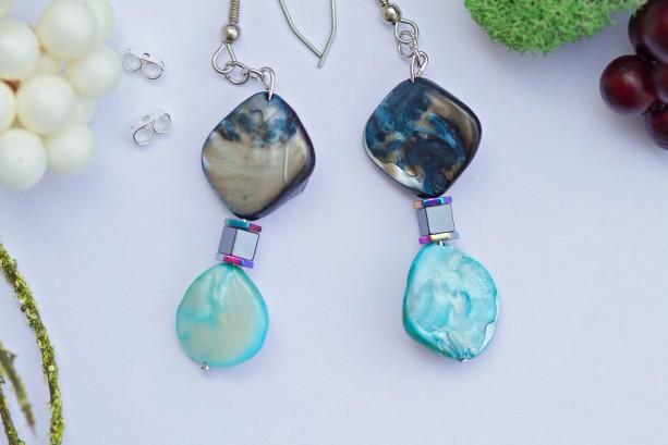 Blue & Sapphire River Shell Earrings/Hematite cube square,multi-iris rainbow hexagon spacer/Natural river shells/Nickel free/Under 20 dollar