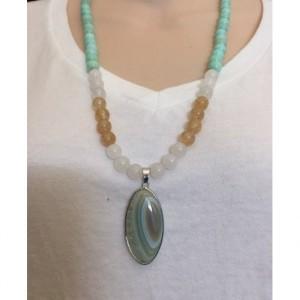Handmade Light Green Glass Beaded Necklace and Lovely Agate Pendant
