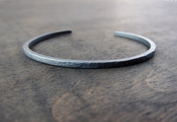Solid Recycled Black Oxidized Sterling Silver, Micro Hammered Dapple Texture Skinny Cuff Bracelet