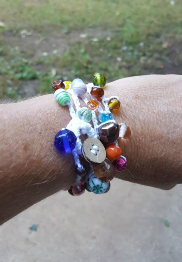 Beaded Wrap Bracelet - Necklace - Crochet - Cotton - Boho Style