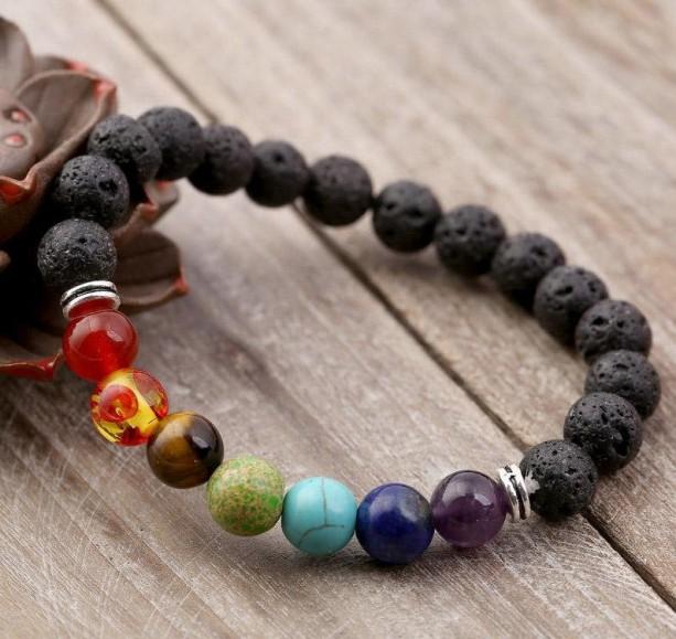 2 Piece Black & White Lava Stone Bracelet, Chakras Bead Bracelet, Oil Diffuser Bracelet, 7 Chakra Bracelet, Healing Energy Bracelet