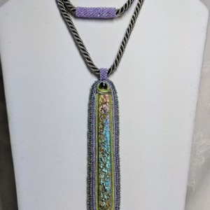 Iridescent green, gray and lavender bead embroidery and soutache vertical bar pendant necklace