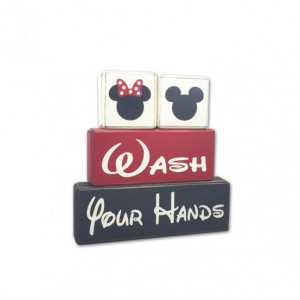 Mickey Mouse Minnie Mouse bathroom decor kids bath wash behind your ears, wash your hands stacking wood blocks distressed blocks disney bath