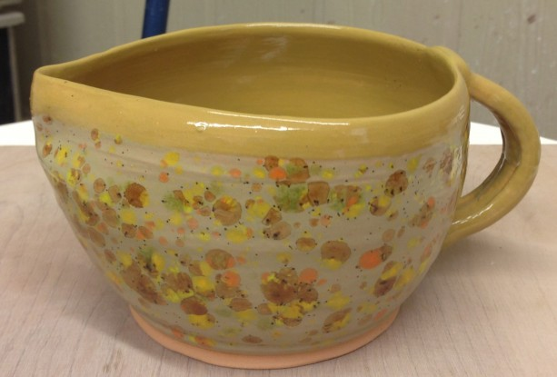 Wheel Thrown Golden Ochre Confetti Handled and Spouted Batter Bowl