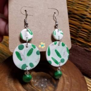 Green Speck Clay Earrings