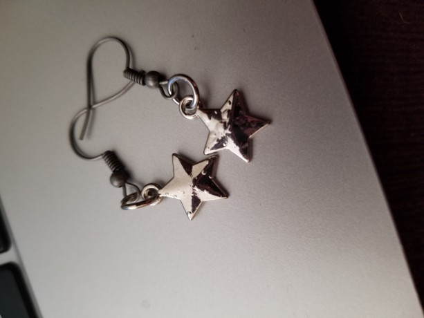 Solid silver star hook earrings