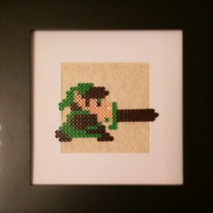 Classic 8 bit Link Framed Perler Art- Geekery- Legend of Zelda- Nerd- Fan Art- Comic Con 2015