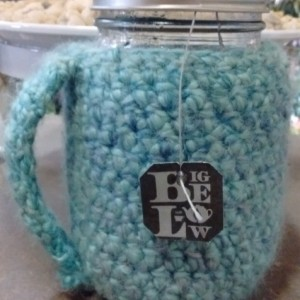 Sky Blue Crochet Mason Jar Cozy with handle - pint size/16 oz - mason jar included