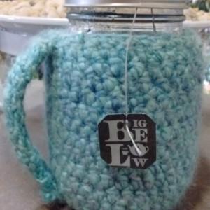 Sky Blue Crochet Mason Jar Cozy with handle - pint size/16 oz - mason jar included