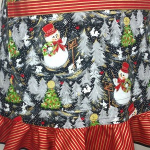 Retro Style Kitchen Apron for Women , Snowmen and Christmas Trees with Wrapping Paper Ruffle