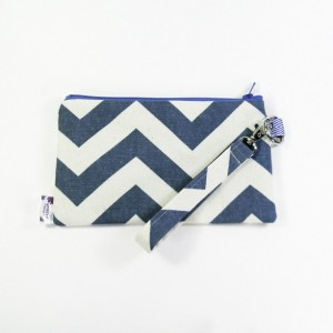 Medium Wristlet Zipper Pouch Clutch - Denim Chevron