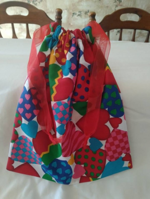 Colorful Hearts Bag, Drawstring Handmade Bag, Handmade Gift for Her on Valentines Day, Valentines Day, Cloth Gift Bag, Gift Bag with Hearts