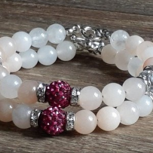 Pink Opal Healing Bracelet With Pave Crystals