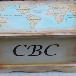 Old World Map - baby keepsake chest box personalized baby gift