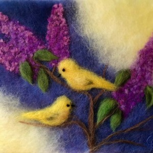 "Wool Painting ""Birds on branches of lilacs"""