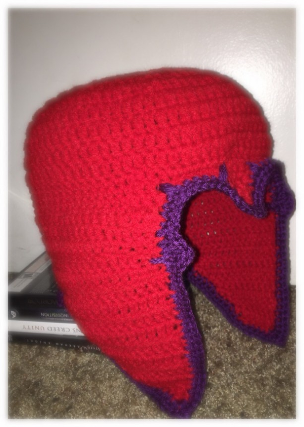 Crochet Magnet Helmet red and purple / master of magnetism / you choose size and color