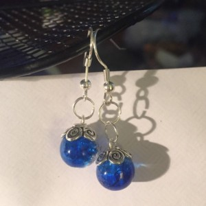 Glass cracked marble sparkle earrings