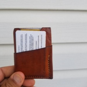 Leather Card Wallet Brown with cream colored thread