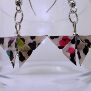 Butterfly origami earrings - rainbow cheetah print – recycled – repurposed – eco friendly  – upcycled paper – Upcycled Earrings