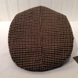 Black and caramel houndstooth wool flat cap limited edition