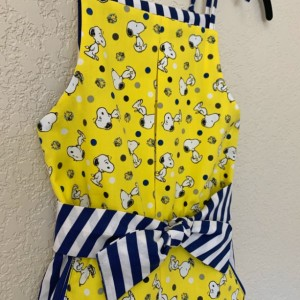 Girls Snoopy Shorts Romper Yellow and Blue Sz 5/6