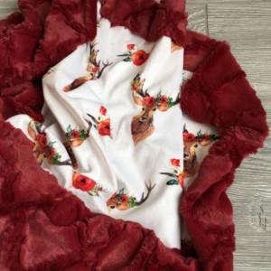 All Minky Baby Blanket Deer Floral Toddler Childrens