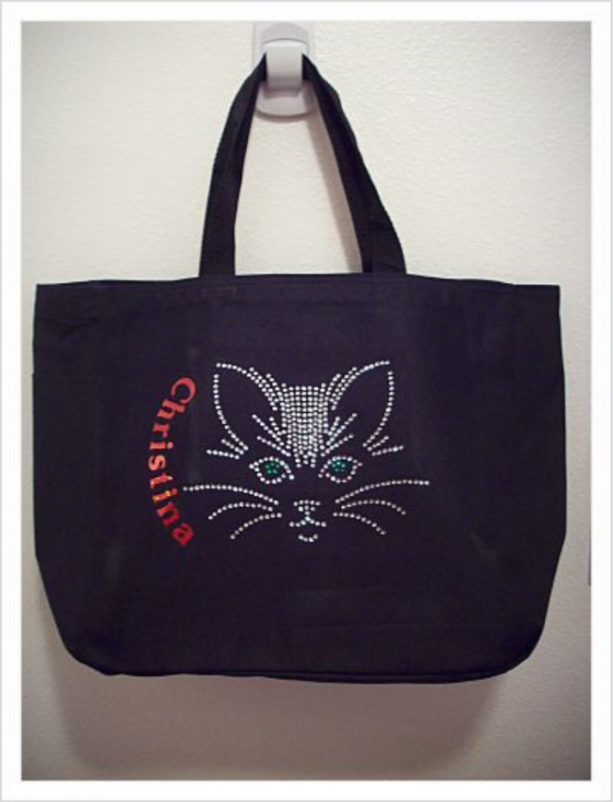 Personalized Rhinestone Cat Tote Bag with Pockets