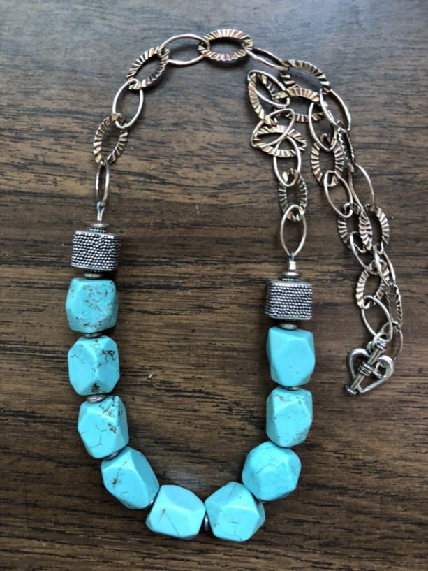 Necklace with sterling silver chain, findings, sterling silver heart toggle and turquoise color dyed howlite neads