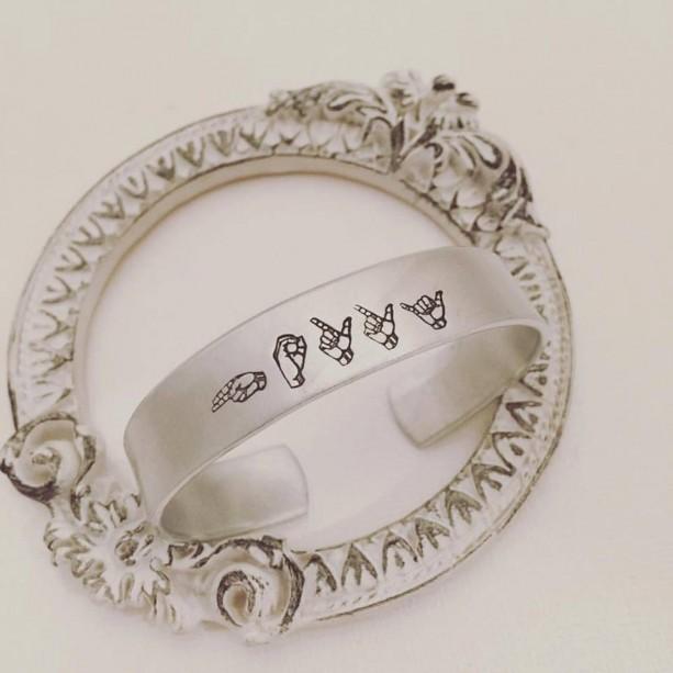 Sign Language Jewelry - Name Cuff Bracelet - Hand Stamped Jewelry - Custom Jewelry - Personalized Cuff Bracelet - ASL Jewelry - Sign Jewelry