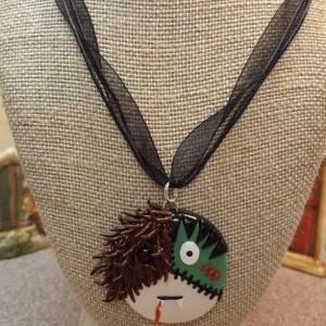 Polymer Clay Kawaii Monster Mash Up Halloween Pendant Necklace, Halloween Charms, Necklace, Frankenstein, Dracula, Werewolf OOAK