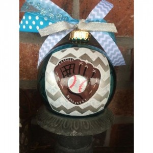 Chevron Baseball/Softball Glass Ornament