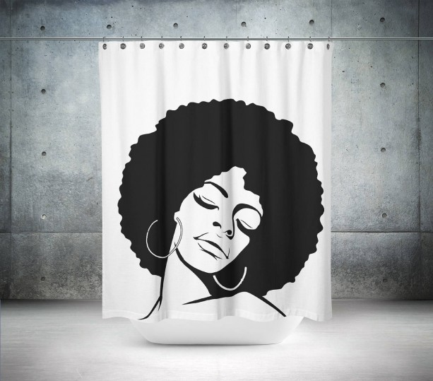 Funky Afro Shower Curtain