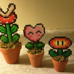 NES Potted Power Flower Desk Plants made with Perler Beads- Mother's Day/Office/Home Decor/Florals- Geekery/ Nerd/ HIpster