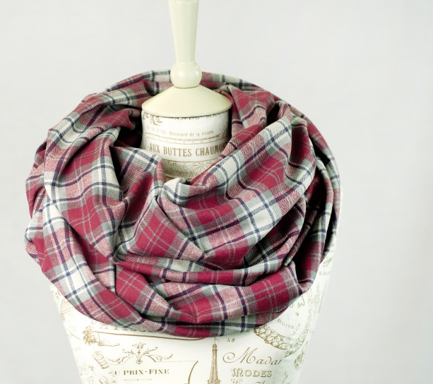 Red and White Plaid Flannel  Infinity Scarf