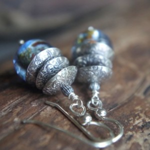 Sterling silver and artisan lampwork bead dangles - Silver bells in light blue speckled glass - Artisan earrings